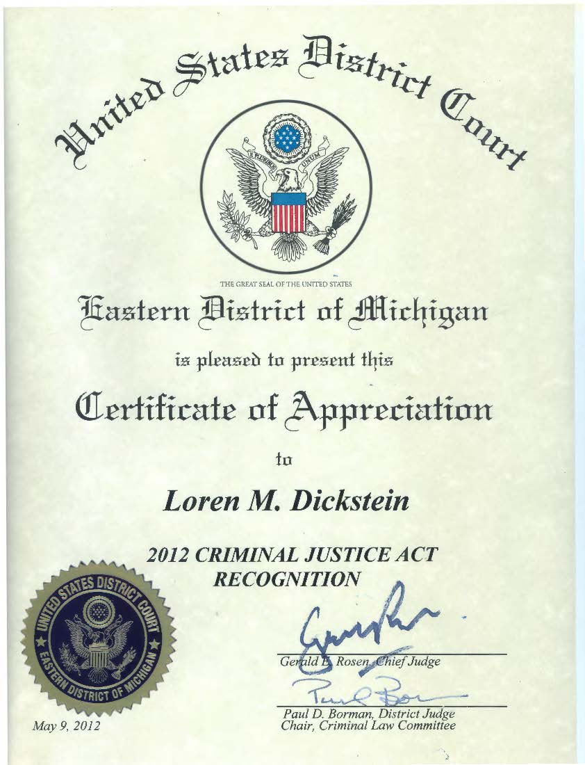 Press release loren m dickstein awarded federal certificate of press release loren m dickstein awarded federal certificate of appreciation xflitez Images