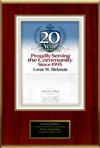 20 years plaque